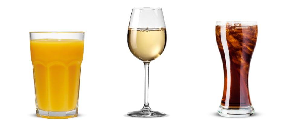Orange juice, wine, coke