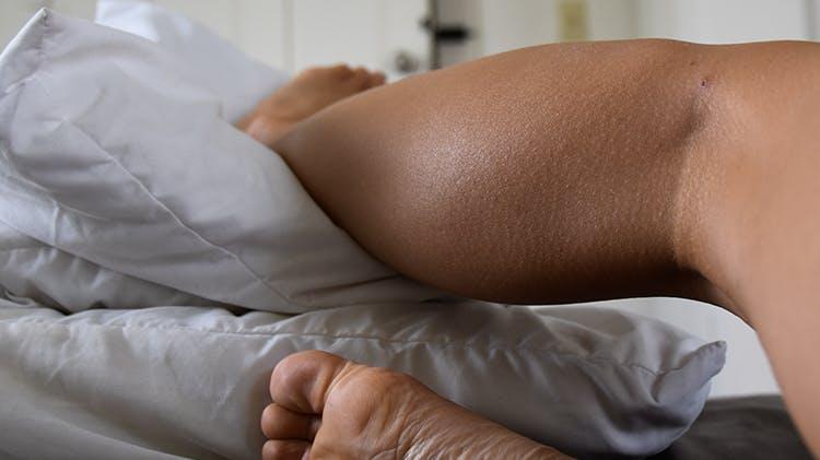 Woman elevating leg
