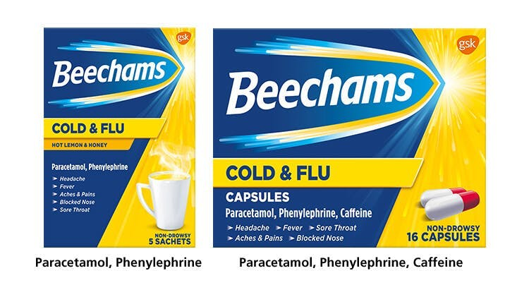 Beechams Cold & Flu range pack-shot