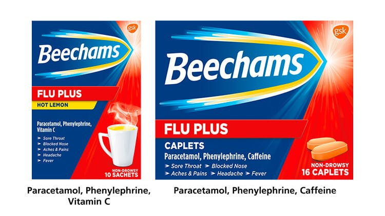 Beechams Flu Plus range pack-shot