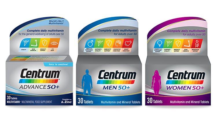 Centrum multivitamin range for over 50s