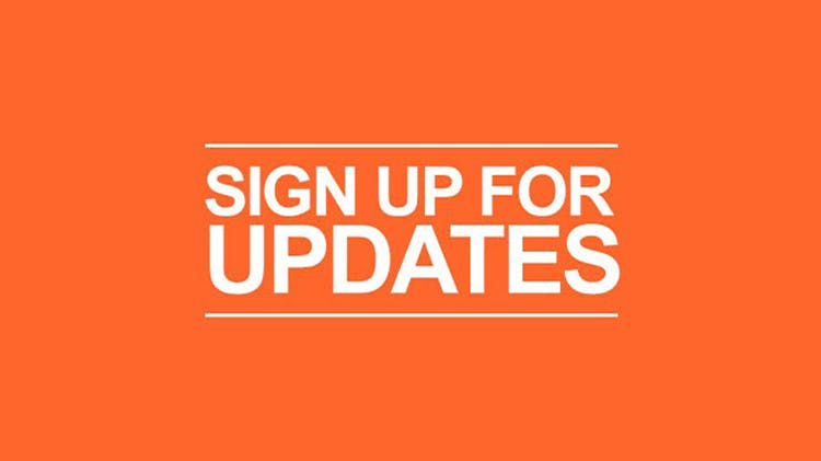 Orange sign up for updates graphic