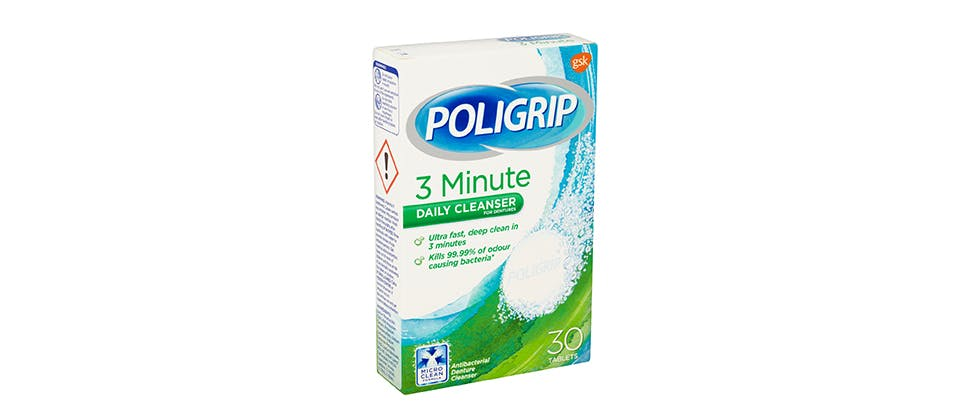 Poligrip 3-minute daily cleanser