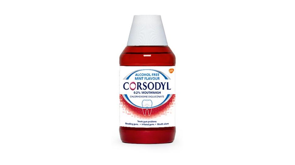 Corsodyl 0.2% w/v Mouthwash pack shot