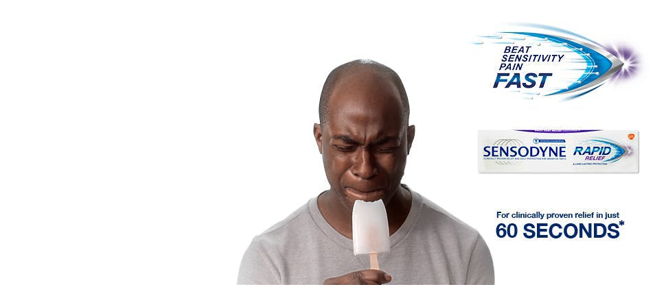 Painful ice-lolly bite and Rapid Relief product packshot