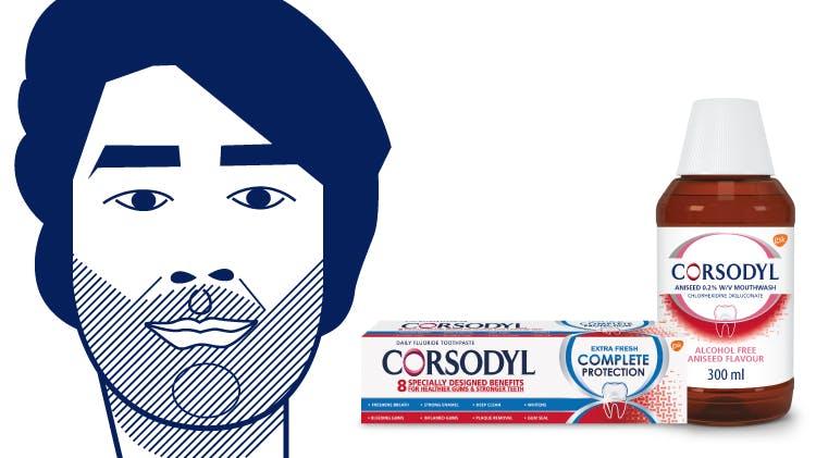 Sam illustration and toothpaste and mouthwash packshots