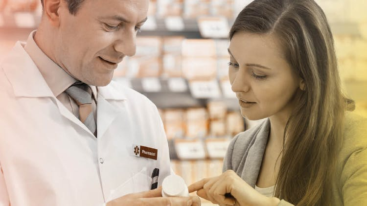 Patient in consultation with a pharmacist