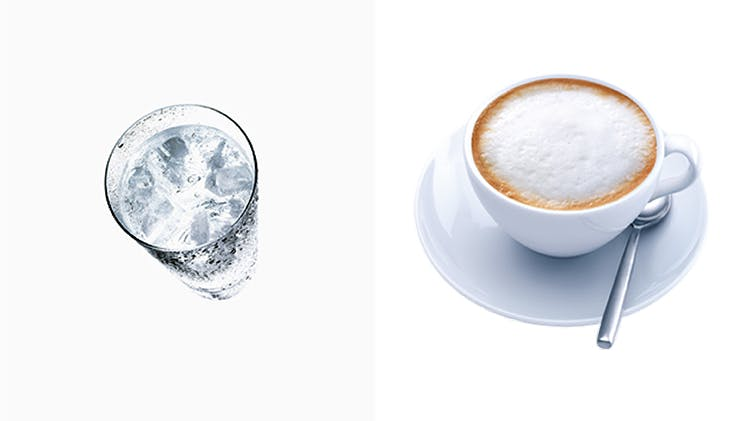 Cold water; hot coffee