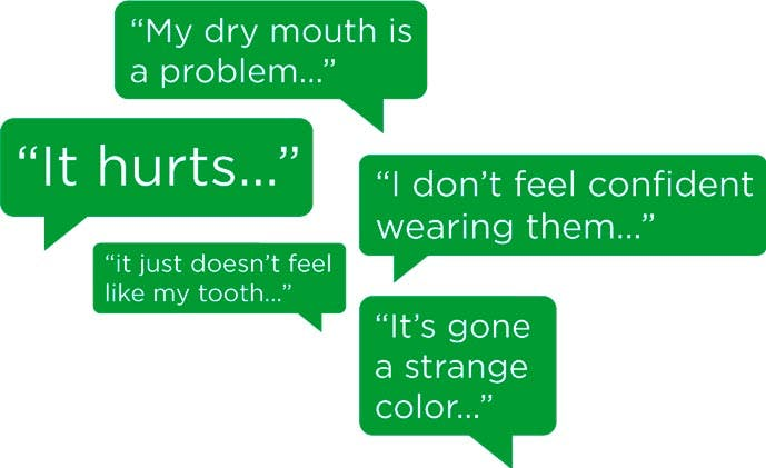 Patient quotes in a speech bubble