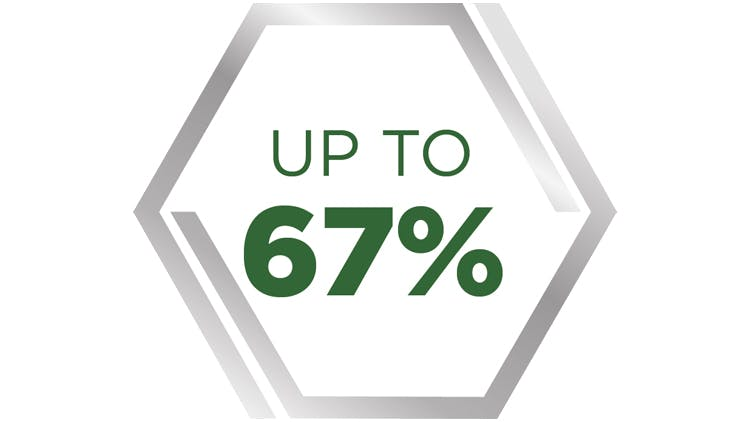 Up to 67%