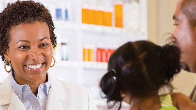 Patient in consultation with pharmacist