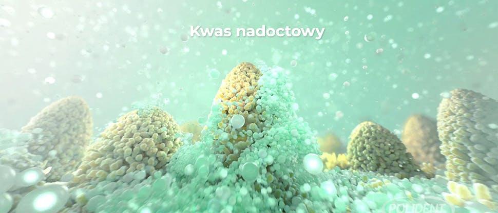 Zrzut ekranu z filmu przedstawiającego mechanizm działania tabletek czyszczących do protez zębowych