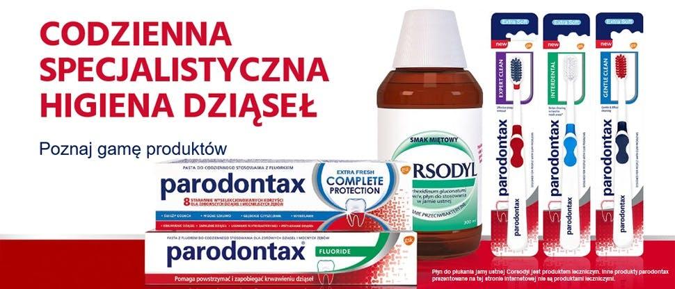 Produkty marki parodontax oraz płyn do płukania jamy ustnej Corsodyl 0,2%