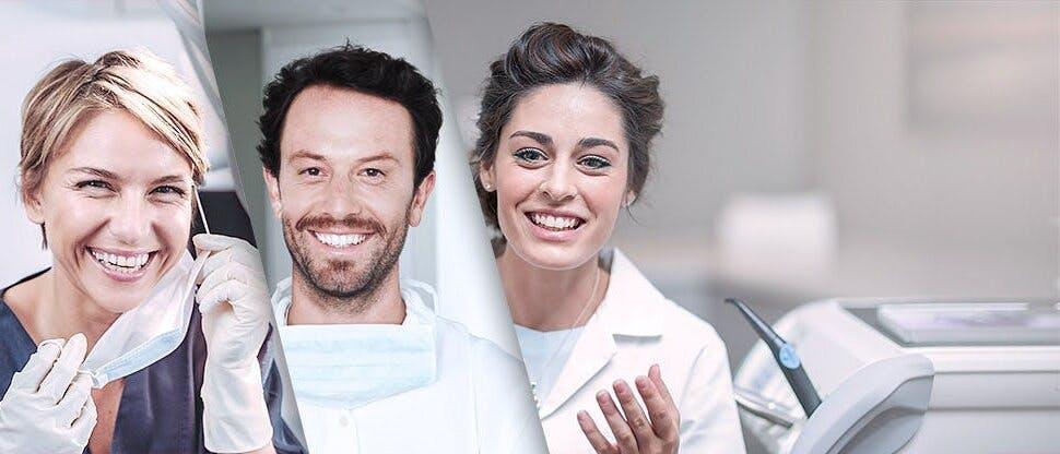 Podzielony obraz czterech dentystów