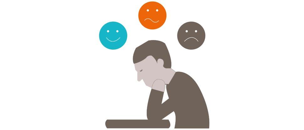 Grafika przedstawiająca osobę o zmieniającym się nastroju