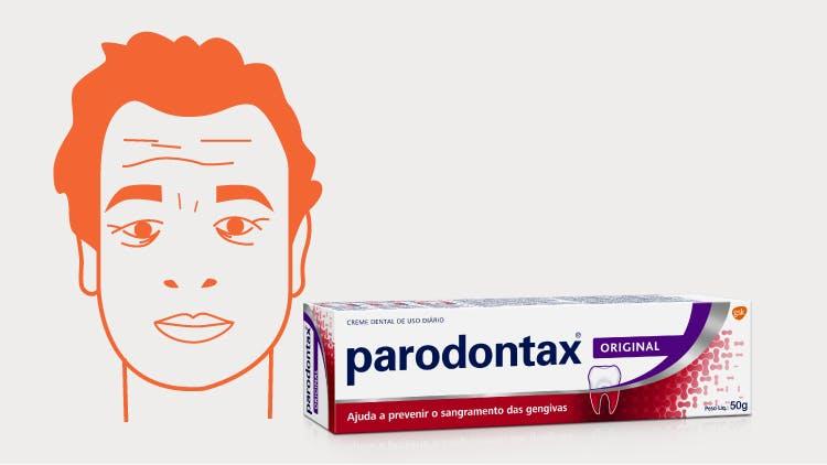 Ilustração Tiago e embalagem de creme dental