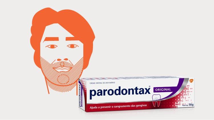 Ilustração Samuel e embalagem de creme dental