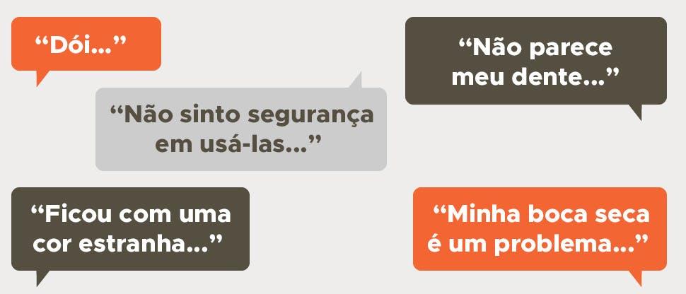 Frases de pacientes em balões de diálogo