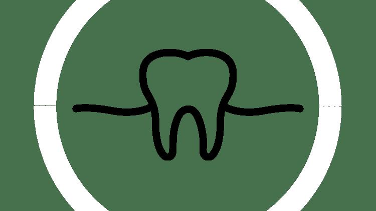 Pictogramă cu dinte înconjurat de gingie