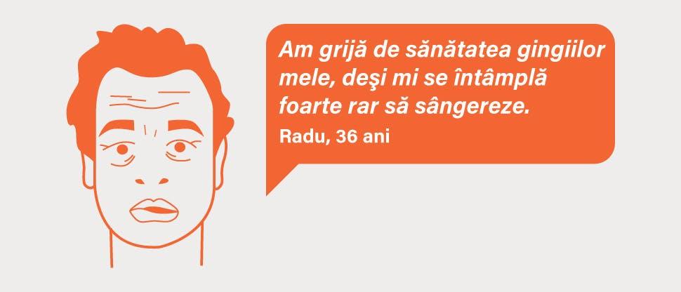 Radu suferă de sângerări gingivale