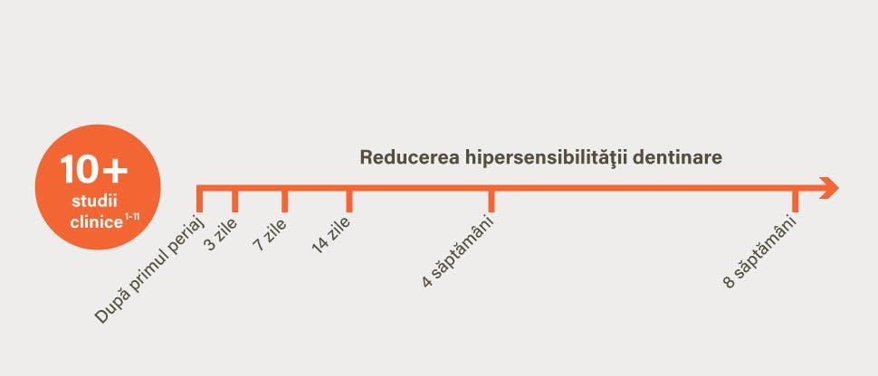 10+ studii clinice: reducerea hipersensibilităţii dentinare