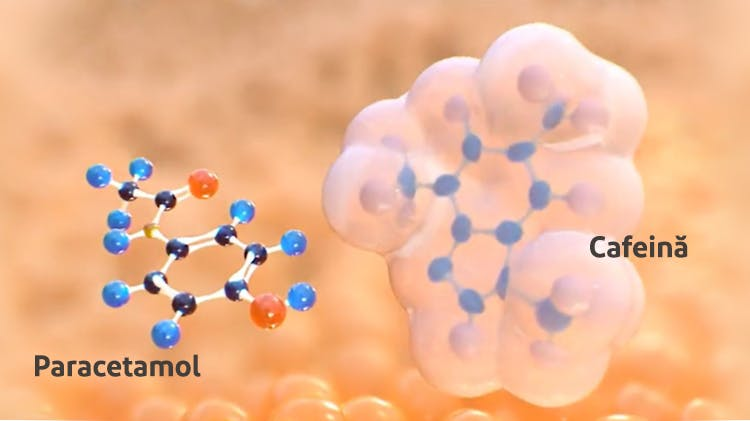 Structura moleculară pentru paracetamol + cafeină