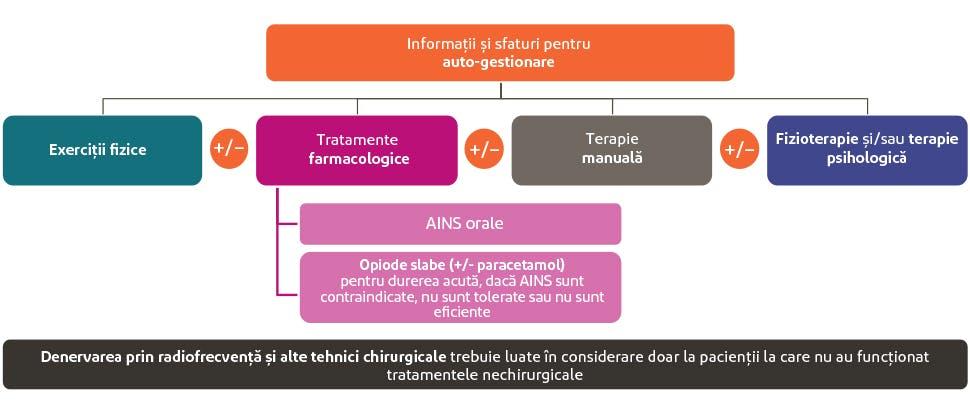 Grafic care rezumă cursul tratamentului pentru dureri de spate