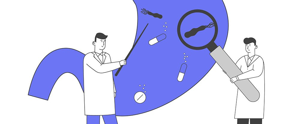 doctors-with-huge-magnifying-glass-and-pointer-learning-sick-stomach