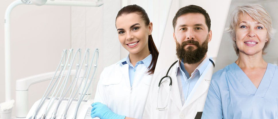 Разделенное изображение четырех врачей-стоматологов