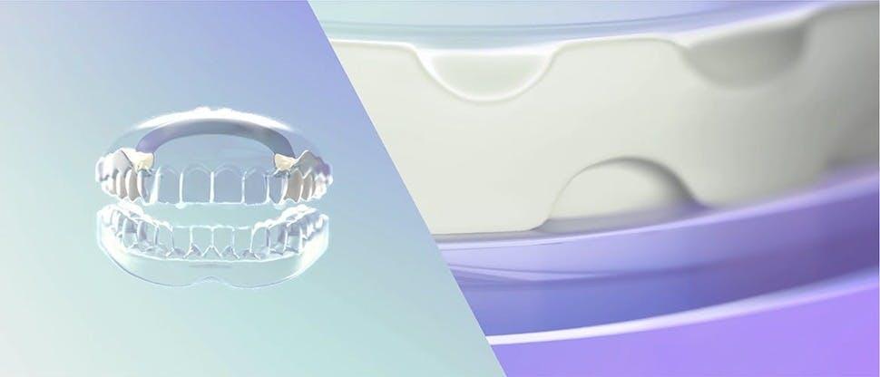 Кадр механизма действия крема для фиксации зубных протезов