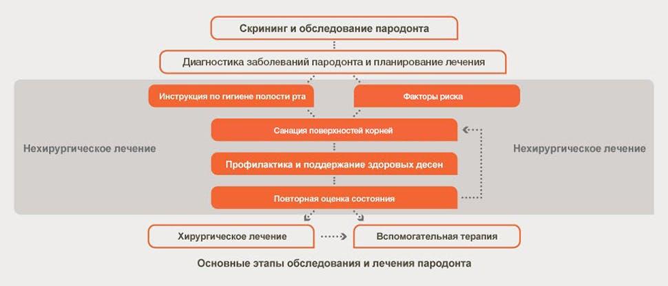 Оценка состояния пародонта и блок-схема лечения