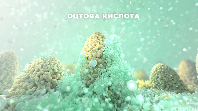 Засіб для чистки зубних протезів в дії - стоп-кадр з відео