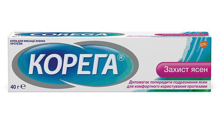 Крем для фіксації зубних протезів Корега Захист Ясен