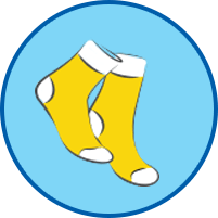 Gelbe Socken rundes Symbol