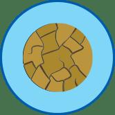 Brüchige Haut rundes Symbol