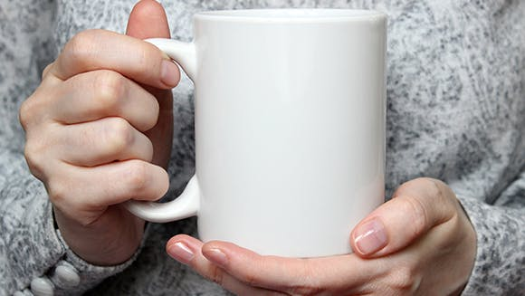 Person with a warm drink