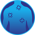 Icône de points douloureux sur le thorax d'une personne pour représenter les courbatures