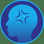 Icône d'un point douloureux sur une tête pour représenter un mal de tête