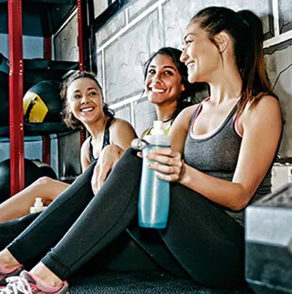 Girls resting during a workout