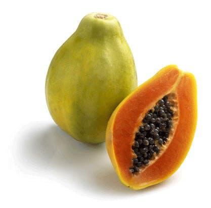 Sliced and full papayas
