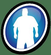 Ícone de um homem com sobrepeso