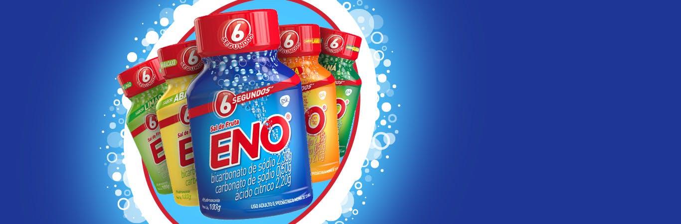 Sal de fruta ENO em cinco diferentes sabores.