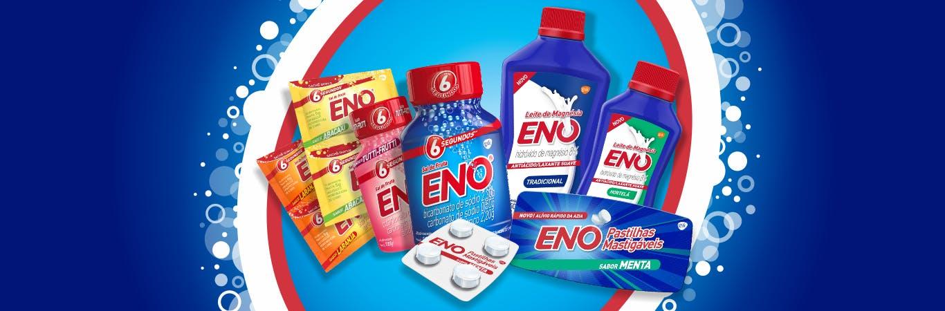 ENO Tabs ( frasco com 48 pastilhas ou rolete com 8 pastillhas) no sabor frutas sortidas. Sal de Fruta ENO (sachê com 5 g ou frasco com 100g) em diferentes sabores.
