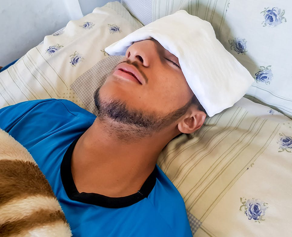 A man trying to reduce his fever