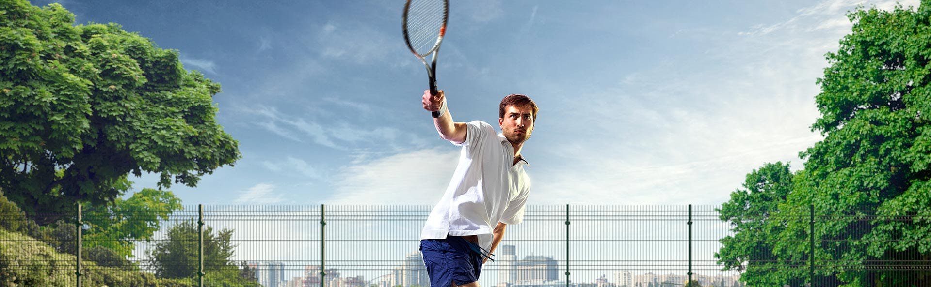 A man playing tennis