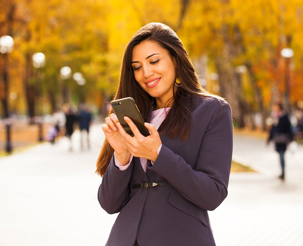 A woman checking her phone
