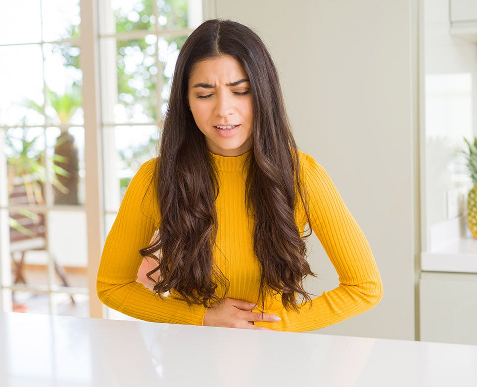 A woman dealing with period pain