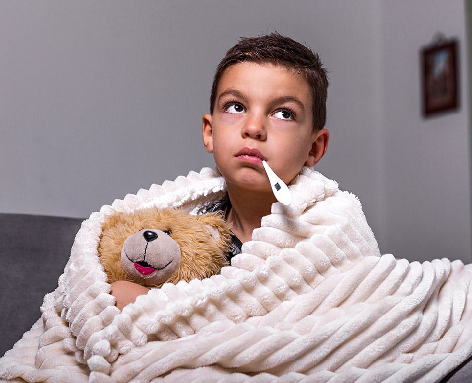 A little boy with a fever