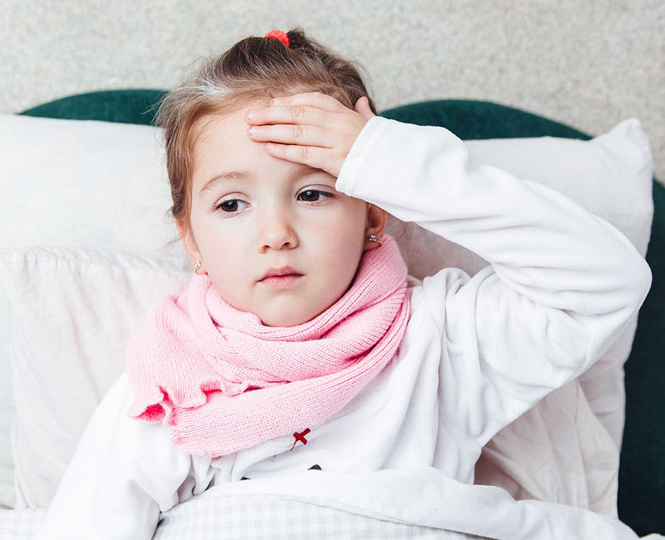 A little girl with a fever