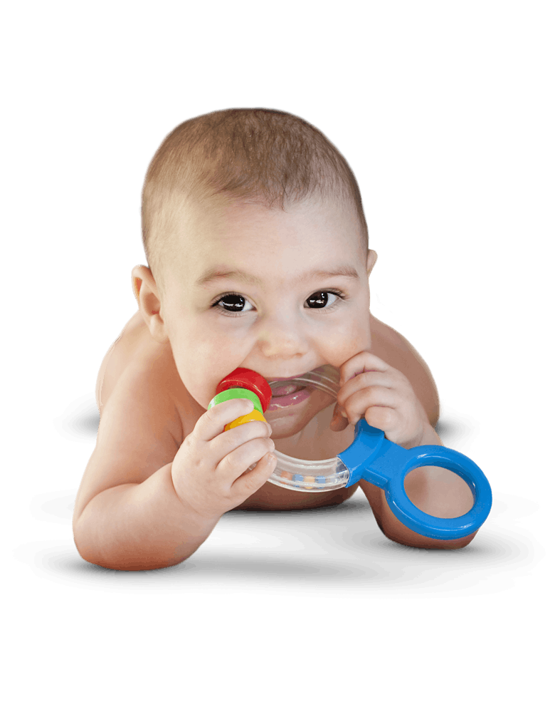 Baby biting a dentition toy.